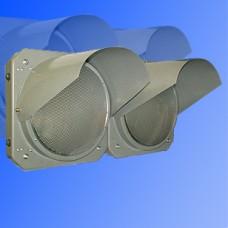 Светофор предупреждающий 300мм Т.7.2.д металлический (предупреждающие желтые сдвоенные мигающие секции)